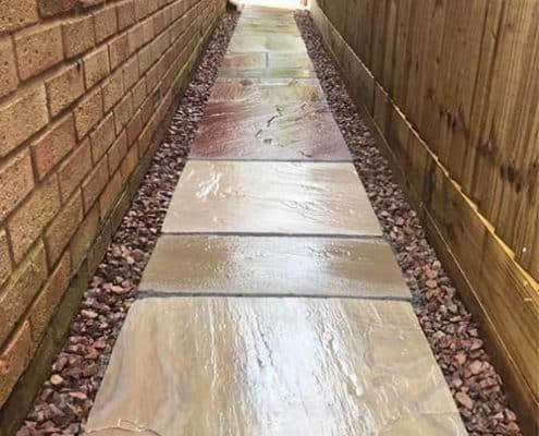 R Lugg new stone pathway to side of house