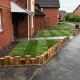 Railway sleeper garden wall transformation house in gloucester