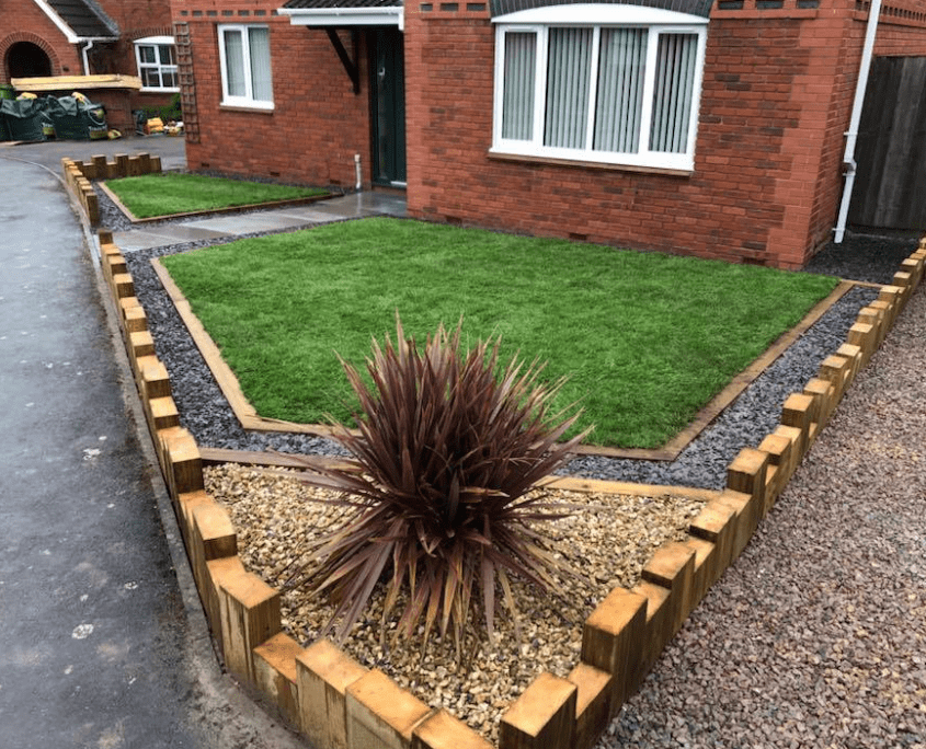 New front garden with stone flowerbeds Gloucester