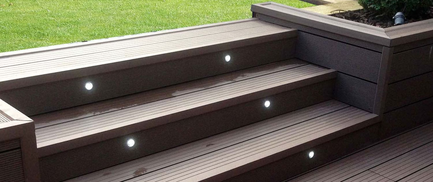 R Lugg Garden decking with lights