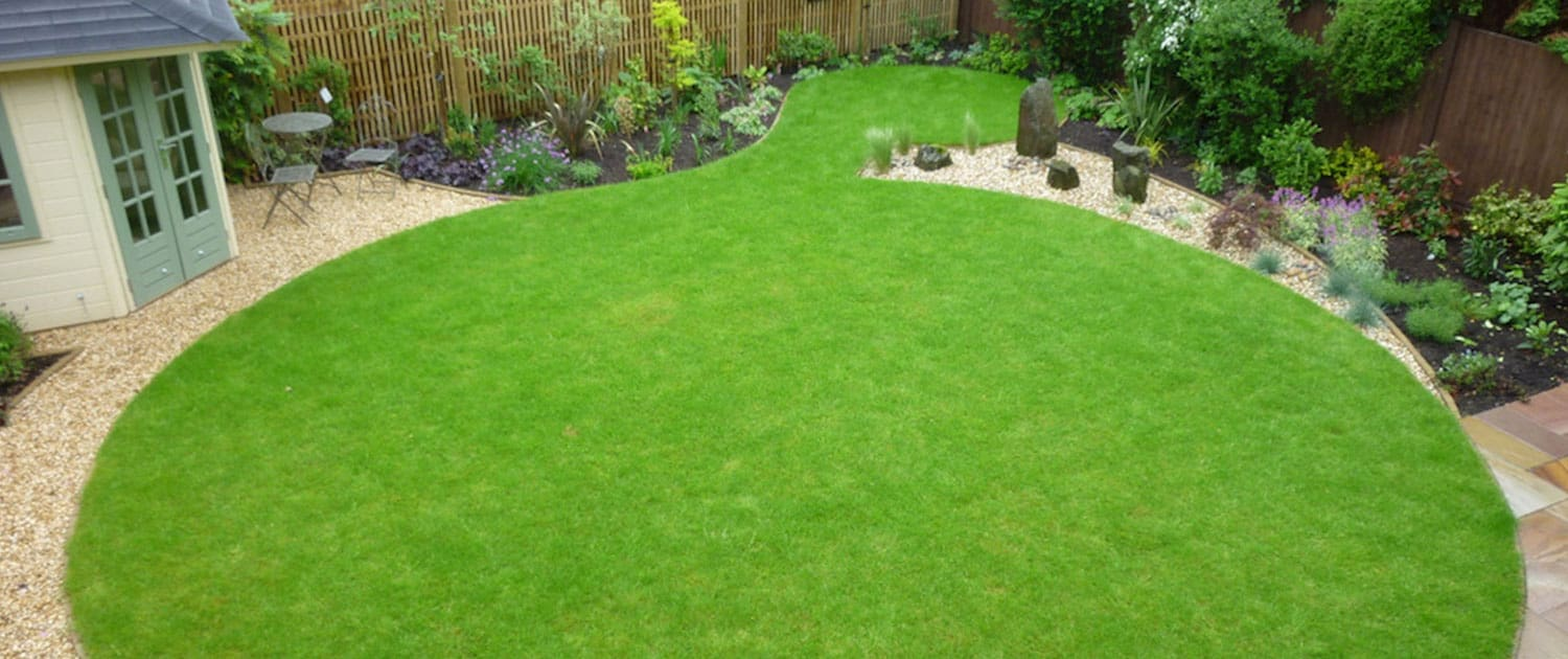 Lawns and artificial grass beautiful garden design with stone flower beds