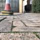 new driveway project sunken paving stones